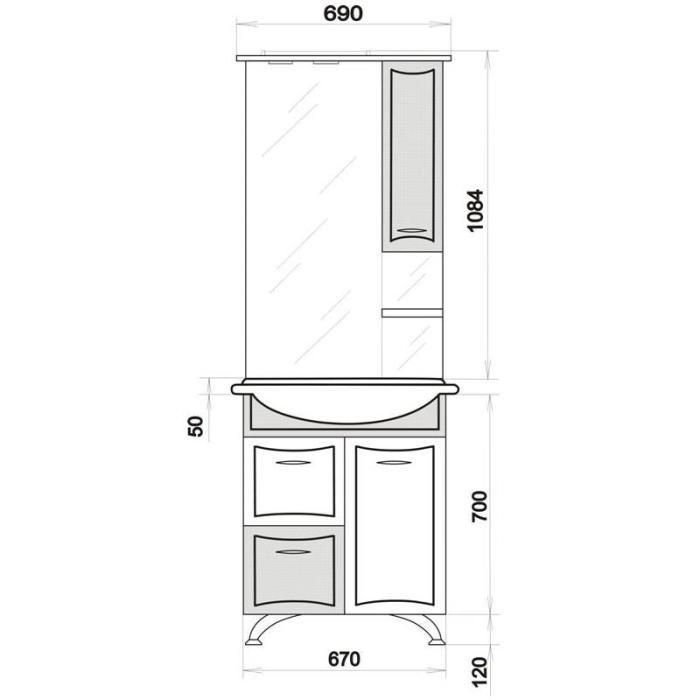 Комплект мебели для ванной ORIO Стиль 70 с корзиной для белья (цвет белый)