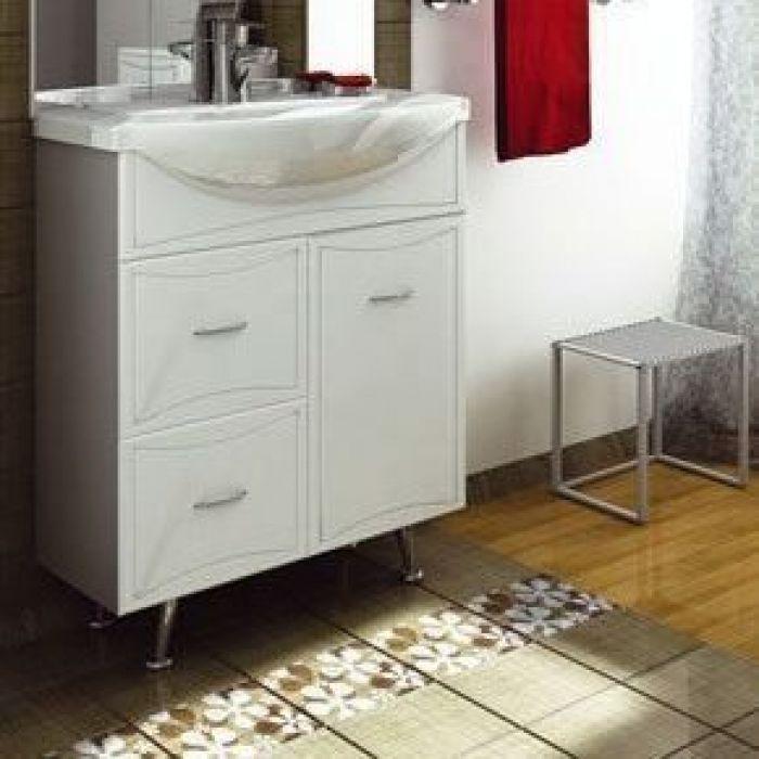 Тумба с раковиной для ванной комнаты ORIO Стиль 70 с корзиной для белья (цвет белый)