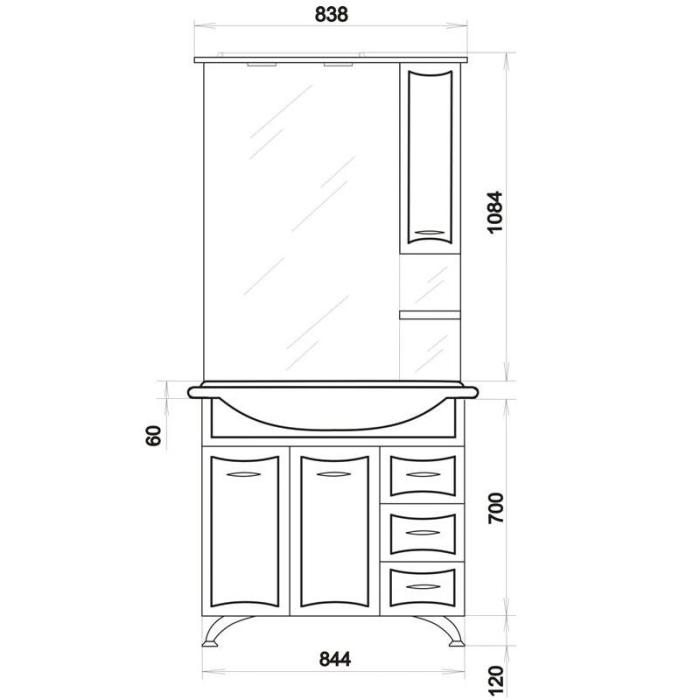 Комплект мебели для ванной ORIO Стиль 85 с корзиной для белья (цвет белый)