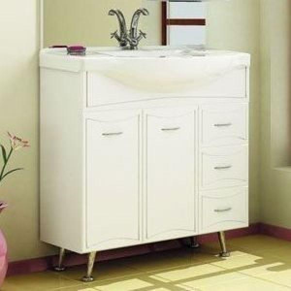 Тумба с раковиной для ванной комнаты ORIO Стиль 85 с корзиной для белья (цвет белый)