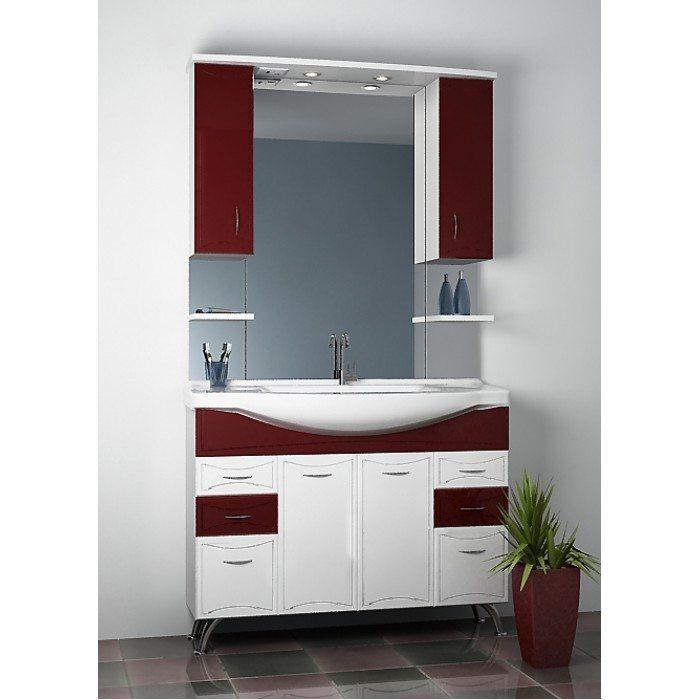 Комплект мебели для ванной ORIO Стиль 105 (цвет бордовый/белый)