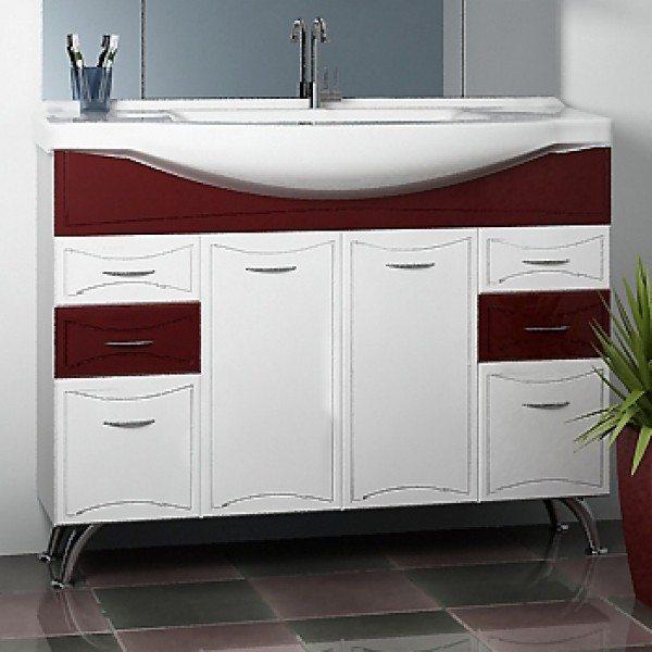 Тумба с раковиной для ванной комнаты ORIO Стиль 105 (цвет бордовый/белый)