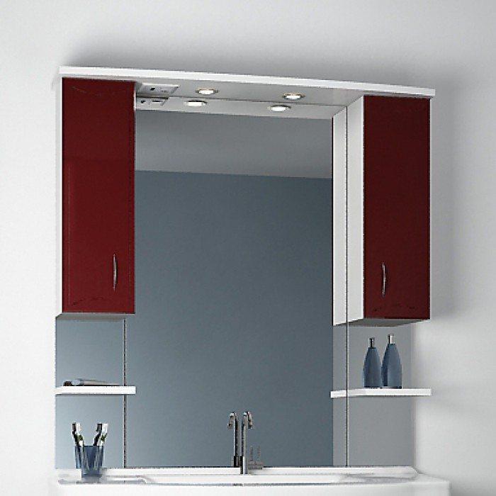 Зеркало для ванной комнаты ORIO Стиль 105 (цвет бордовый/белый)