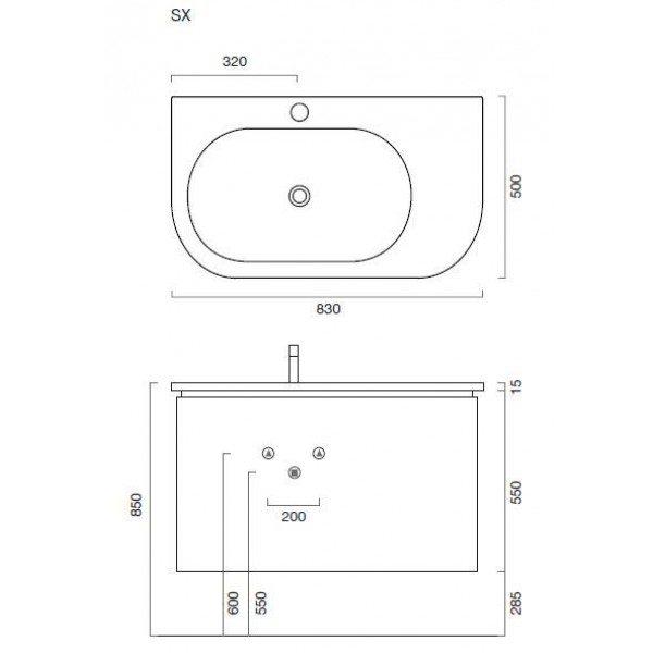 Комплект мебели для ванной Berloni Bagno DAY BS05 SX 161+SO02 (цвет 161 india opaco-индийский непрозрачный, матовый)