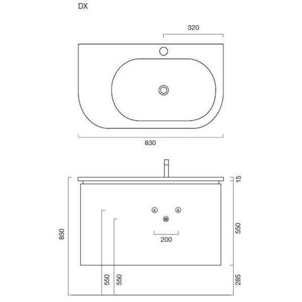 Комплект мебели для ванной Berloni Bagno DAY BS05 DX 161+SO02 (цвет 161 india opaco-индийский непрозрачный, матовый)