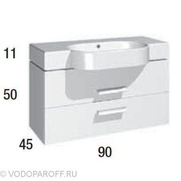Тумба для ванной с раковиной Berloni Bagno WALL WL BS12T (цвет 100 bianco lucido-белый)