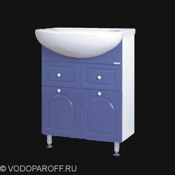 Тумба с раковиной для ванной SANMARIA Венге 60 (голубой металлик)