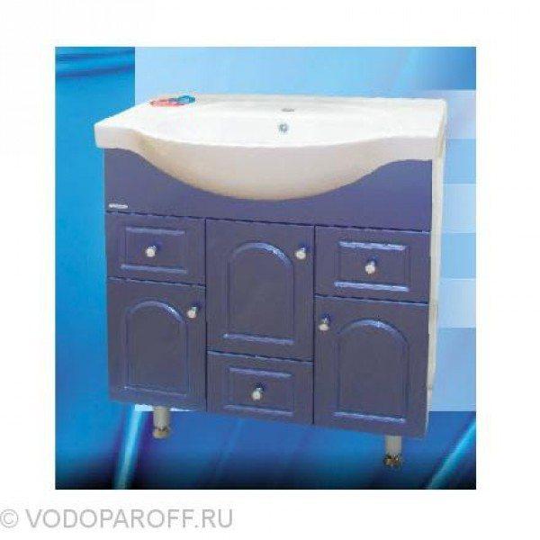 Тумба с раковиной для ванной SANMARIA Венге 80 (цвет голубой металлик)