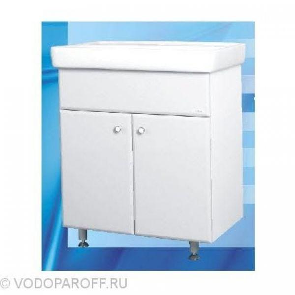 Тумба с раковиной для ванной SANMARIA Кристалл 60 (цвет белый, распашные створки)