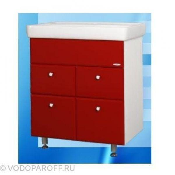 Тумба с раковиной для ванной SANMARIA Кристалл 60 (цвет красный, створки с ящиками)