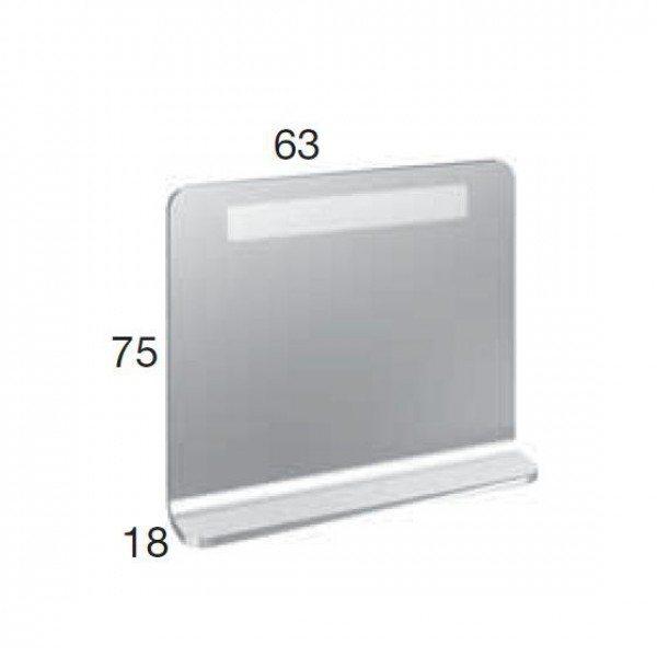 Зеркало для ванной комнаты на 63 см с подсветкой и стеклянной полкой Berloni Bagno SO01