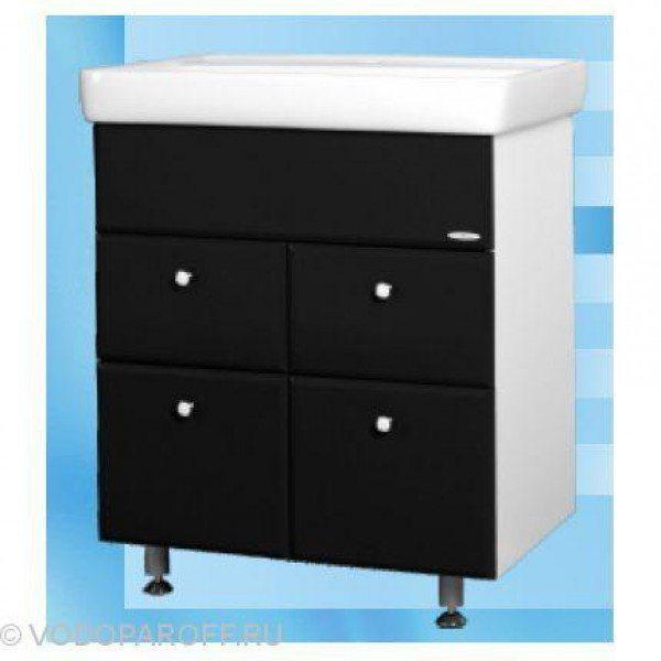 Тумба с раковиной для ванной SANMARIA Кристалл 60 (цвет черный, створки+ящики)