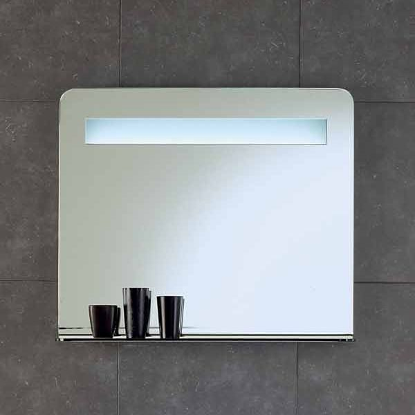 Зеркало для ванной комнаты на 90 см с подсветкой и стеклянной полкой Berloni Bagno SO02