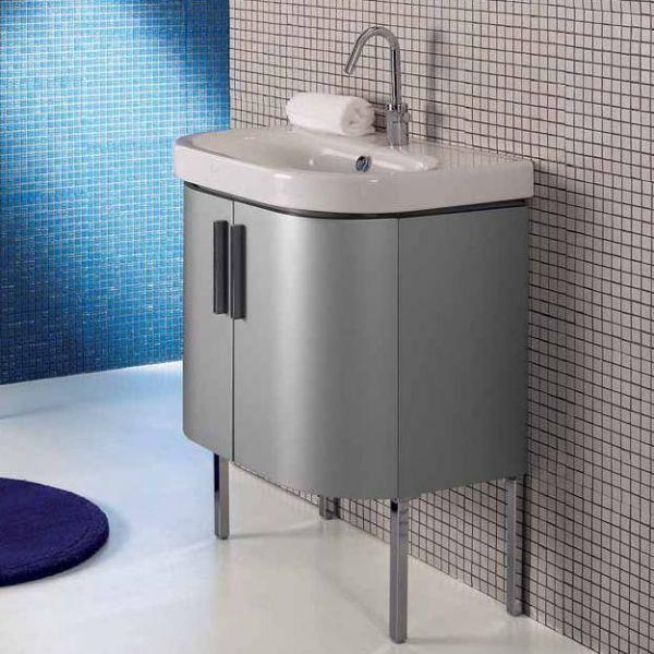 Комплект мебели для ванной комнаты Berloni Bagno DAY BS02+CB10+SE02 (матовая поверхность, цвет 121 silice opaco, серый матовый)
