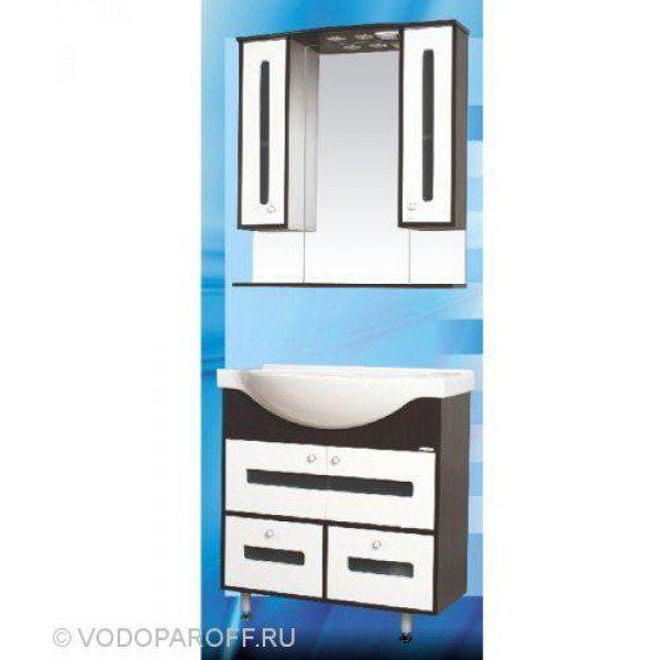 Комплект мебели для ванной SANMARIA Париж 80 створки и 2 ящика (цвет венге с белым)