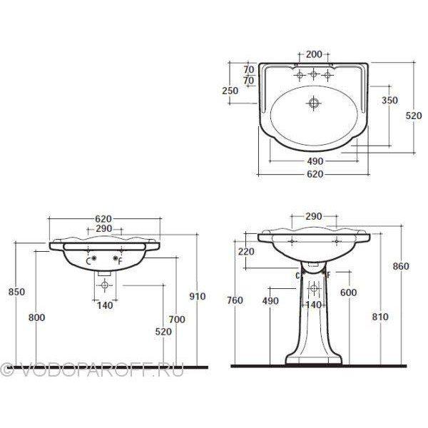 Раковина для ванной на 62 см Globo PAESTUM PA057