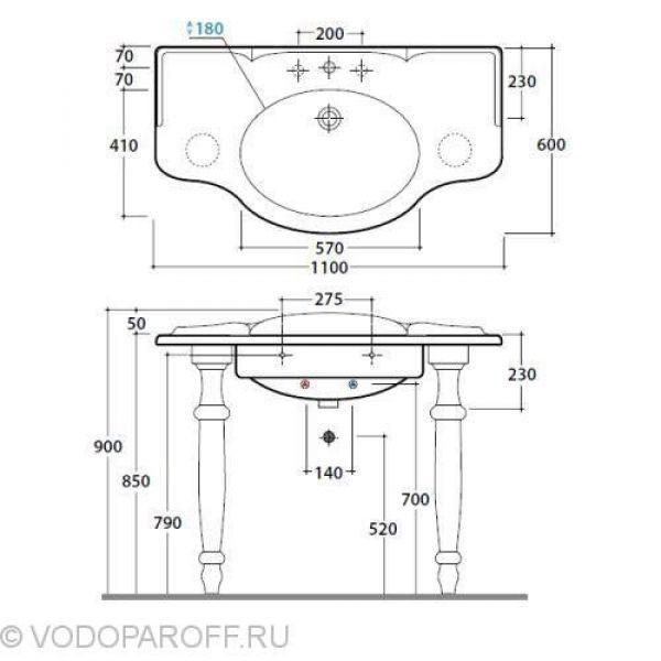 Раковина для ванной 90 см Globo PAESTUM PA056 с керамическими ногами PA075