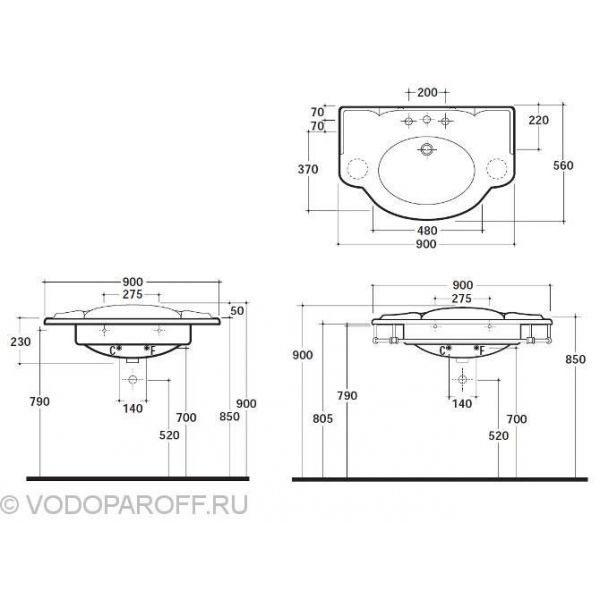 Раковина для ванной на 90 см Globo PAESTUM PA056 с полотенцедержателем PAPC56
