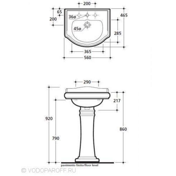 Раковина тюльпан на 56 см Kerasan RETRO 1045 с керамической колонной 1070