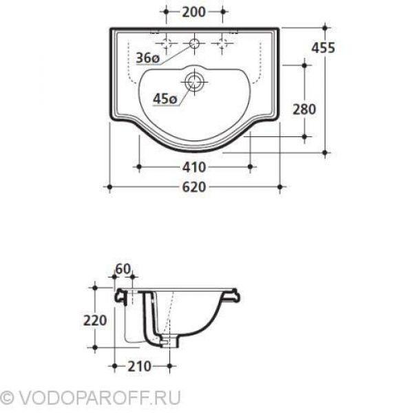 Раковина для ванной врезная встраиваемая на 62 см Kerasan RETRO 1030