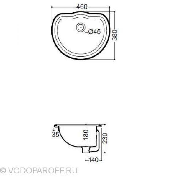 Раковина для ванной врезная встраиваемая на 46 см Kerasan RETRO 1031