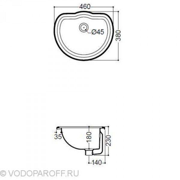 Раковина для ванной врезная встраиваемая на 46 см Kerasan RETRO 1031 platino (цвет платина)