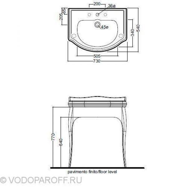 Раковина чёрная для ванной на 73 см Kerasan RETRO 1047 с напольной консолью 7362