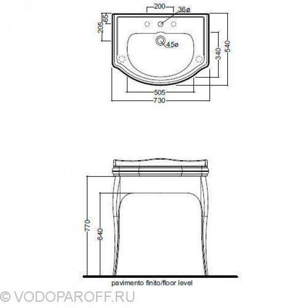 Комплект Раковина Kerasan RETRO 1047 на 73 см с консолью 7362