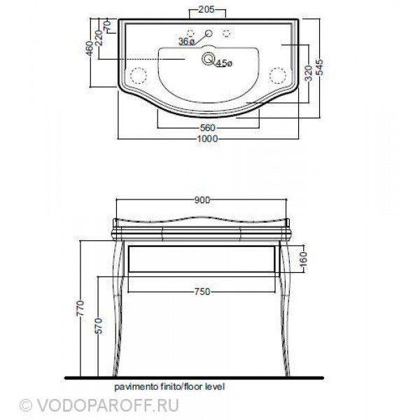Комплект Раковина Kerasan RETRO 1050 на 100 см с напольной консолью 7363
