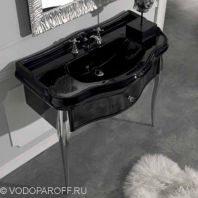 Раковина чёрная для ванной на 100 см Kerasan RETRO 1050 с напольной консолью 7363