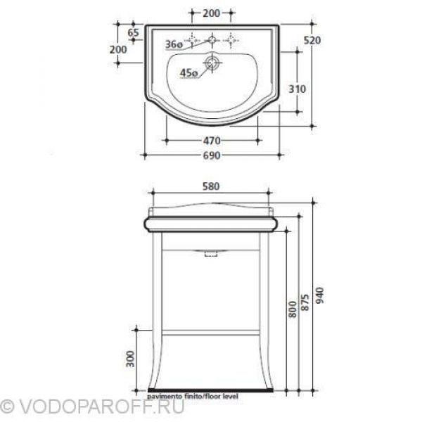 Комплект мебели для ванной Kerasan RETRO 7350+7313+1046 (цвет орех)