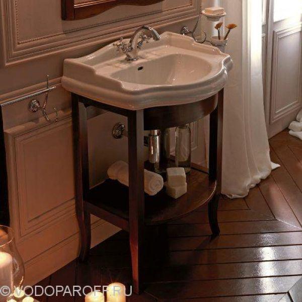 Раковина для ванной на 69 см Kerasan RETRO 1046 с деревянной базой 7350 (цвет орех)