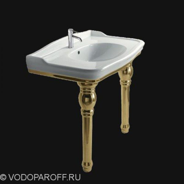 Раковина для ванной на 100 см galassia Ethos 8408MOR с керамическими ногами 8409OR (цвет золото)