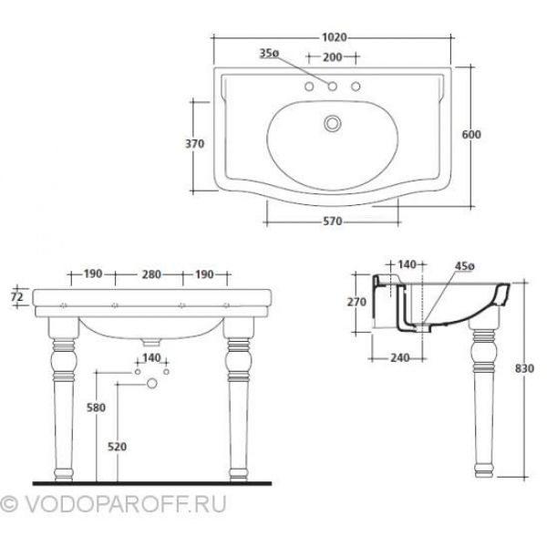 Раковина для ванной на 100 см galassia Ethos 8408MPL с керамическими ногами 8409PL (цвет платина)