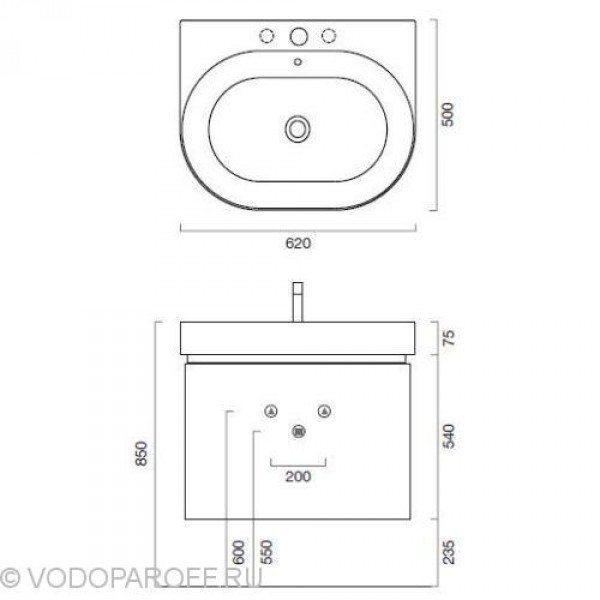 Тумба для ванной комнаты на 60 см Berloni Bagno DAY BS01 отделка шпон (цвет 405 венге)