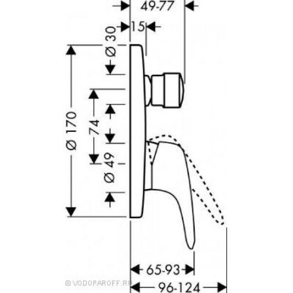 смеситель для ванны hansgrohe Metris E 31475000