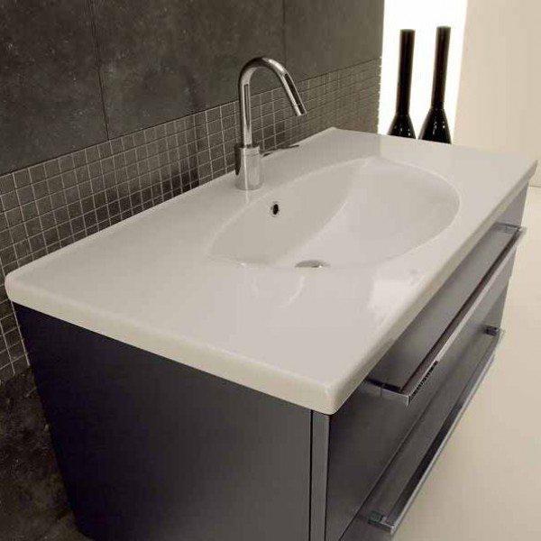 Тумба для ванной комнаты Berloni Bagno SQUARED BS10 (отделка шпон, цвет серый антрацит металлик, 222 GRIGIO ANTRACITE METALLIZZATO)