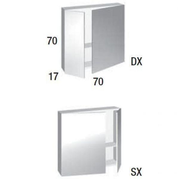 Зеркало шкаф для ванной комнаты Berloni Bagno DAY, SQUARED SN02 (матовое покрытие)