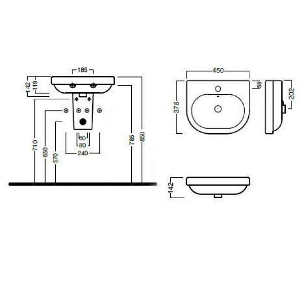 Раковина для ванной на 45 см Hatria DАYTIME YXBM с подвесной керамической полуколонной YXCQ