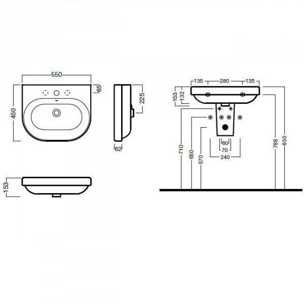 Раковина для ванной на 55 см Hatria DАYTIME YXBL