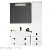 Комплект мебели для ванной комнаты КВАДРО 80 с пеналом (цвет белый)