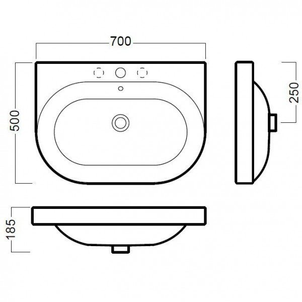 Раковина для ванной на 70 см Hatria DАYTIME Y0YV с напольной консолью Y0P9