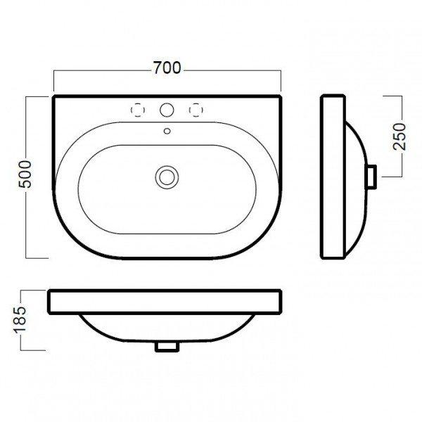 Раковина для ванной на 70 см Hatria DАYTIME Y0YV с подвесной консолью базой Y0PA