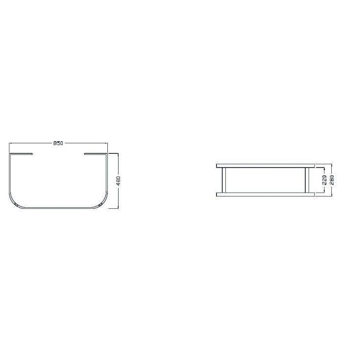 Раковина на 86 см HATRIA DAYTIME Y0YJ с подвесной металлической хромированной консолью базой, полотенцедержателем и стеклянной полкой Y0PD