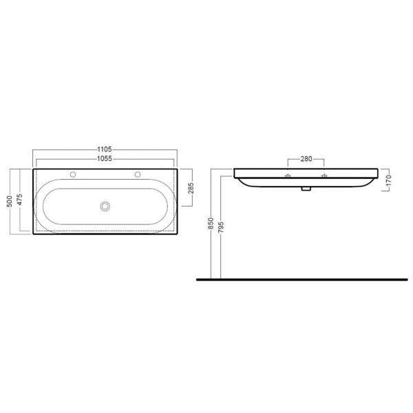 Раковина двойная на 110 см Hatria DAYTIME Y0YQ с напольной консолью Y0PF