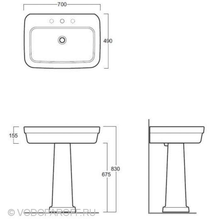 Раковина 70 см. Simas Evolution EVO 11 Подвесная Белая на керамической колонне EVO 03