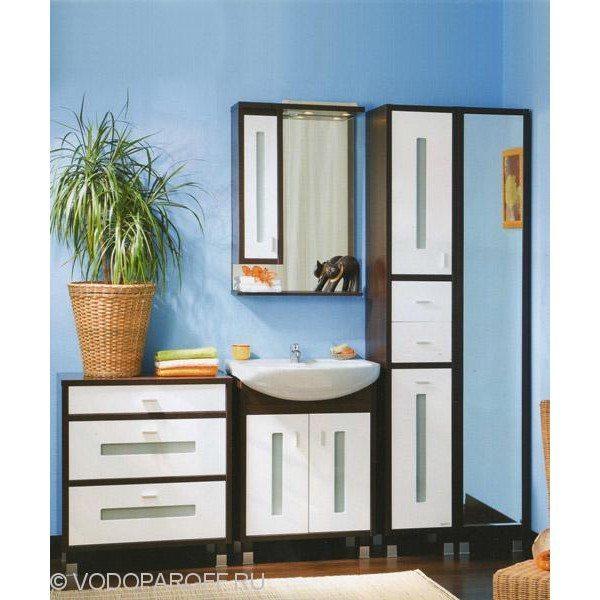 Комплект мебели для ванной Бриклаер БАЛИ 65 с пеналом (цвет венге с белым)