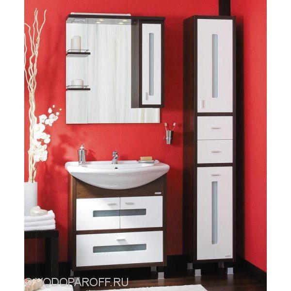 Комплект мебели для ванной Бриклаер БАЛИ 75 с пеналом (цвет венге с белым)