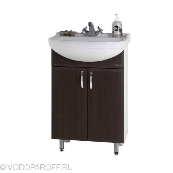Тумба для ванной с раковиной Водолей А+ Классик 55 (цвет венге)