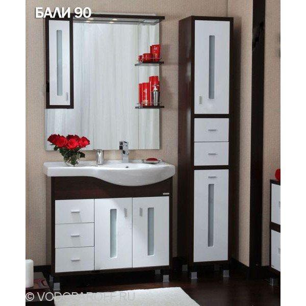 Комплект мебели для ванной Бриклаер БАЛИ 90 с пеналом (цвет венге с белым)